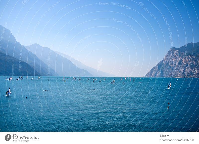 Lago Segeln Surfen Natur Landschaft Himmel Sommer Schönes Wetter Berge u. Gebirge See Erholung frisch natürlich blau Farbe Ferien & Urlaub & Reisen