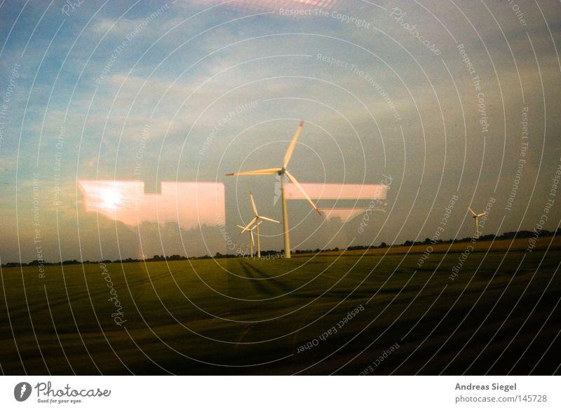 Heimfahrt Himmel Sommer Ferien & Urlaub & Reisen Wolken Wiese Fenster Bewegung Feld Verkehr Eisenbahn Geschwindigkeit Elektrizität fahren Aussicht