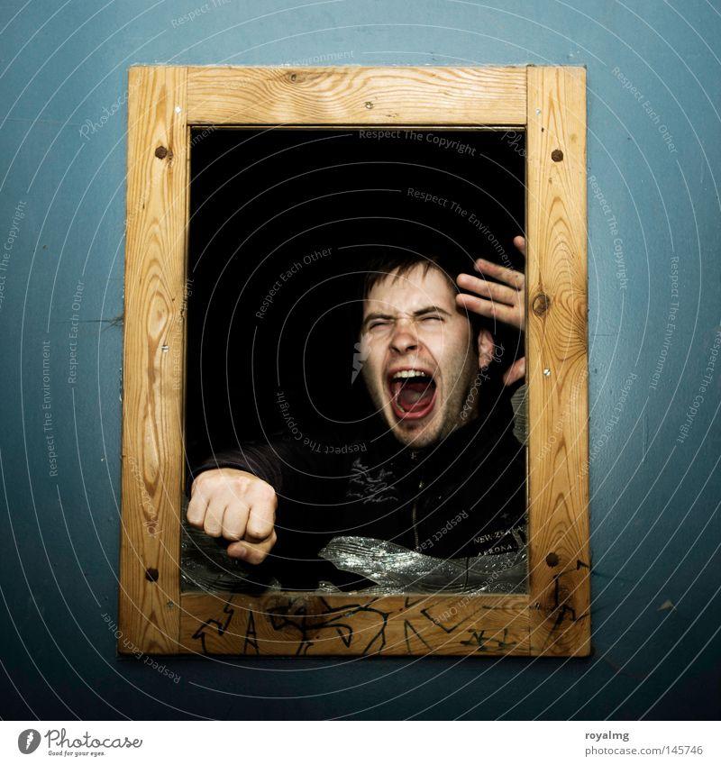 Ab durch die Mitte Mensch Mann Wut gefangen kämpfen Ärger Aussehen Gegenteil Bilderrahmen Schlag schlagen Faust Ausbruch Rüpel durchdrehen driften