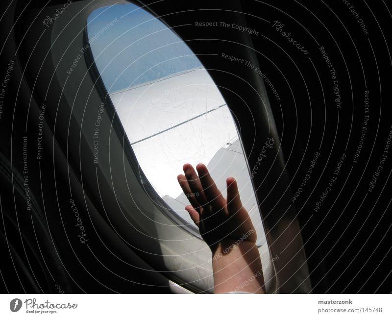hand on sky Kind Himmel Hand blau weiß Ferien & Urlaub & Reisen Sommer Freude Wolken ruhig Erholung Fenster Freiheit klein Flugzeug Finger