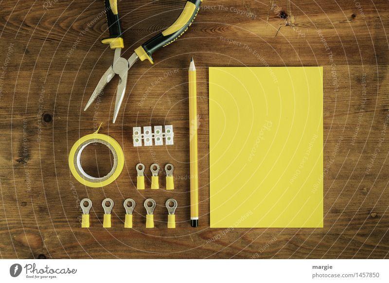 Gelber Strom: gelbes Schreibblatt mit Stift dazu Elektro -Utensilien wie Isolierband, Lysterklemmen und Zange Arbeit & Erwerbstätigkeit Beruf Handwerker