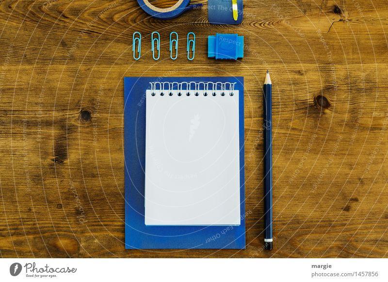 Schreibtisch - Blau I lernen Beruf Büroarbeit Arbeitsplatz Werbebranche Geldinstitut Business blau braun Papier Schreibwaren Schreibstift Bleistift Radiergummi