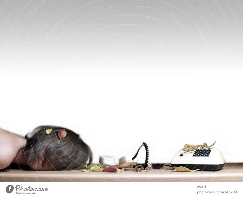 Silence Frau ruhig Blatt Herbst Telefon Tisch fallen Telekommunikation Telefonhörer Technik & Technologie