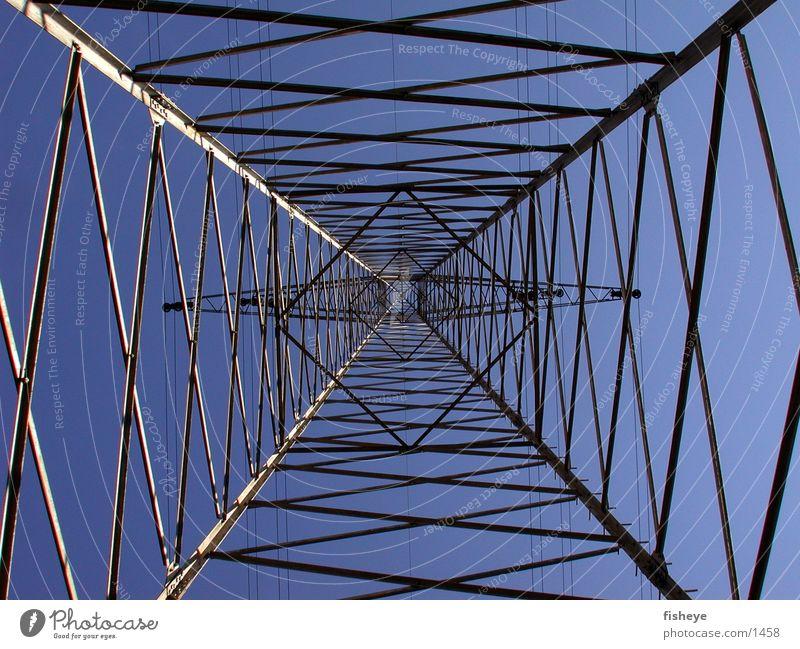 Stahlhimmel Himmel blau Architektur Energiewirtschaft Elektrizität Stahl Strommast Konstruktion Leitung Gitter
