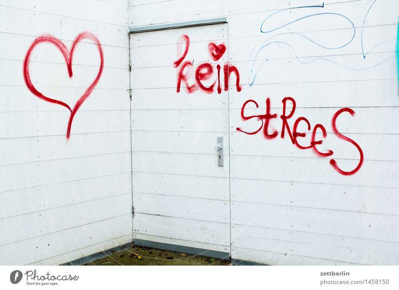 kein StReeS Graffiti Grafik u. Illustration Mediengestalter Stress Aufschrift Schriftzeichen schreiben beschmiert Vandalismus Herz Liebe Romantik Information
