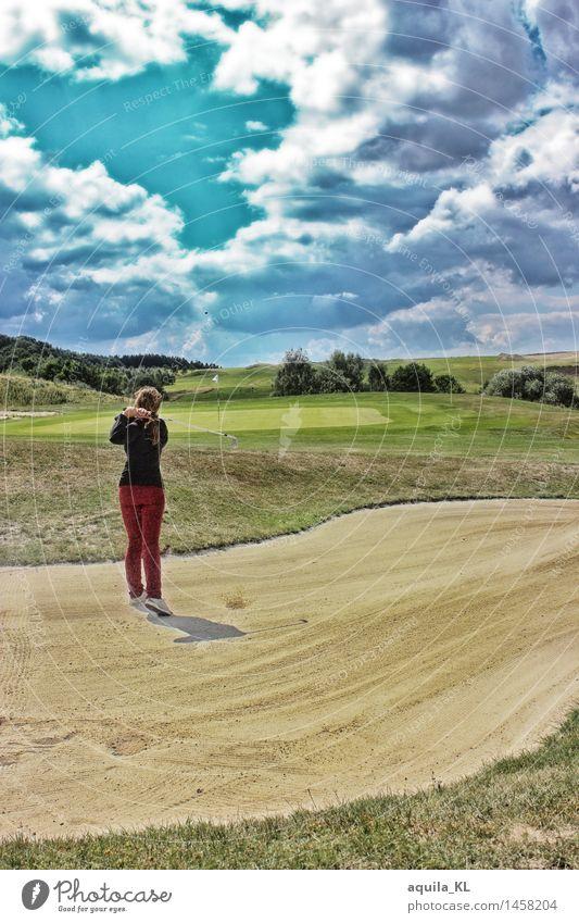 GreenAngel Mensch Frau Natur Ferien & Urlaub & Reisen Jugendliche Landschaft Wolken ruhig Freude 18-30 Jahre Erwachsene Wiese feminin Spielen Freizeit & Hobby