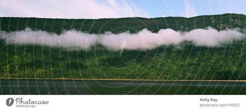 Grün-weiß Wasser Himmel weiß Baum grün blau Sommer Wolken Wald See Wetter Streifen außergewöhnlich Rauch Kanada Vorhang