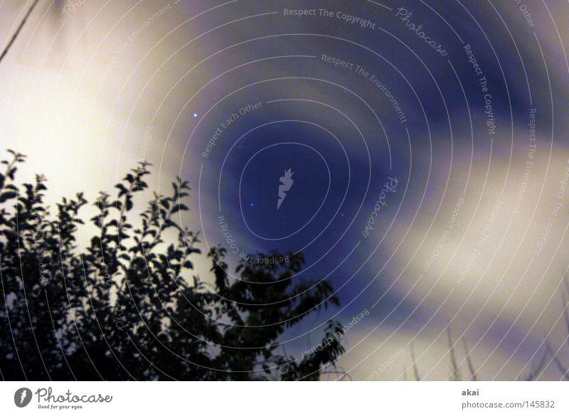 Sturmnacht Wolken Schönes Wetter Wolkenberg Wolkenloch Wolkenfeld Wolkenband Wolkenwand Nacht Stern Windsack Himmel himmelblau Perspektive Geometrie Linie