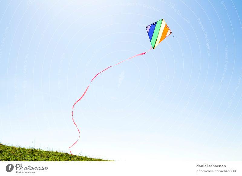 Wind Himmel blau grün schön Ferien & Urlaub & Reisen rot Sonne Sommer Freude Farbe gelb Herbst Spielen hell orange Wetter