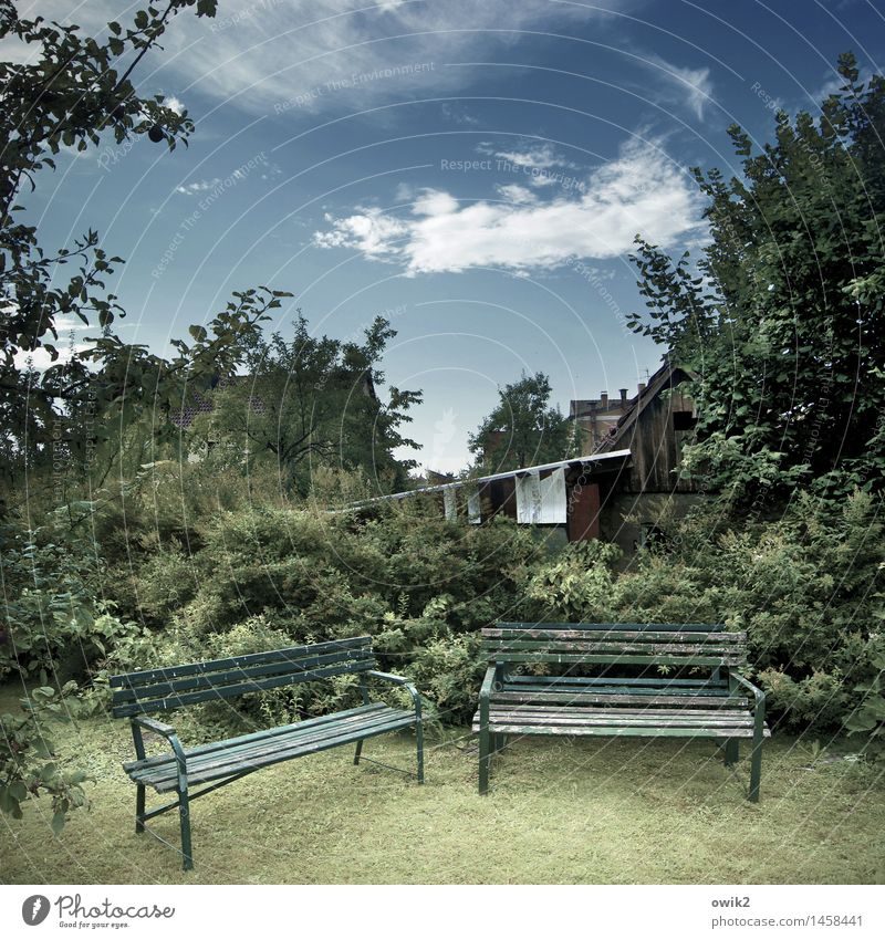 Bankensektor Himmel Natur alt Pflanze Sommer Baum Wolken ruhig Haus Umwelt Wand Wiese Gras Mauer Holz Garten