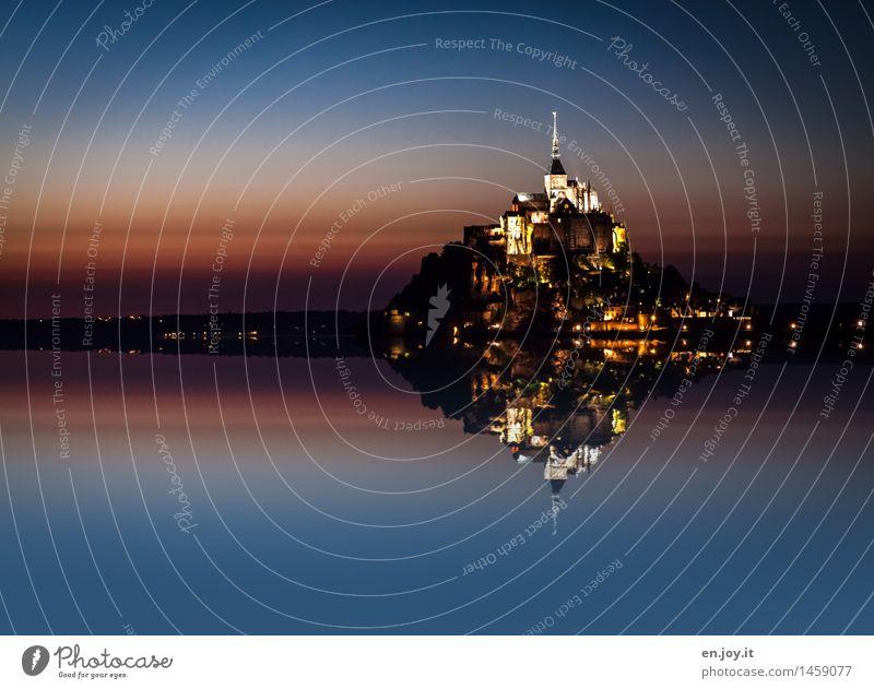 Perfect Reflection Ferien & Urlaub & Reisen Tourismus Ferne Landschaft Wasser Wolkenloser Himmel Nachthimmel Horizont Sonnenaufgang Sonnenuntergang Insel