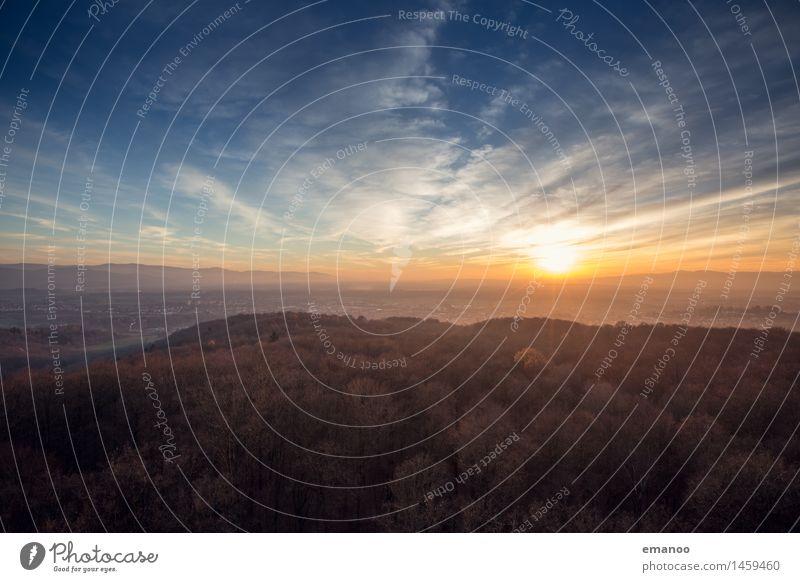 Rheinebene Winter Sunset Ferien & Urlaub & Reisen Ferne Freiheit Berge u. Gebirge Natur Landschaft Pflanze Himmel Wolken Horizont Sonne Sonnenaufgang