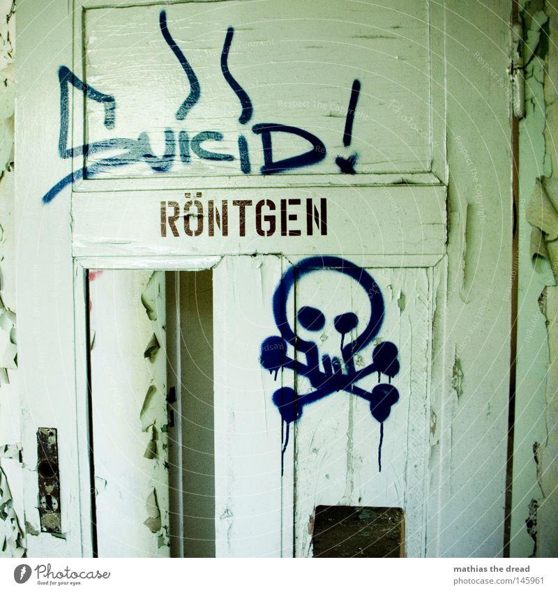 SUICID! Holztür offen treten Röntgenstrahlen grün Minze Schädel gefährlich Strahlung Mörder töten Tod Sensenmann Spray Sprühflasche Farbe Farbstoff