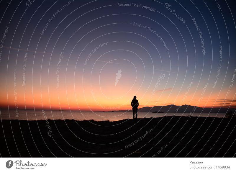 Goldene Abendröte, statt goldener Morgenröte! Lifestyle Ferien & Urlaub & Reisen Abenteuer Ferne Freiheit Meer Insel 1 Mensch Landschaft Feuer Himmel