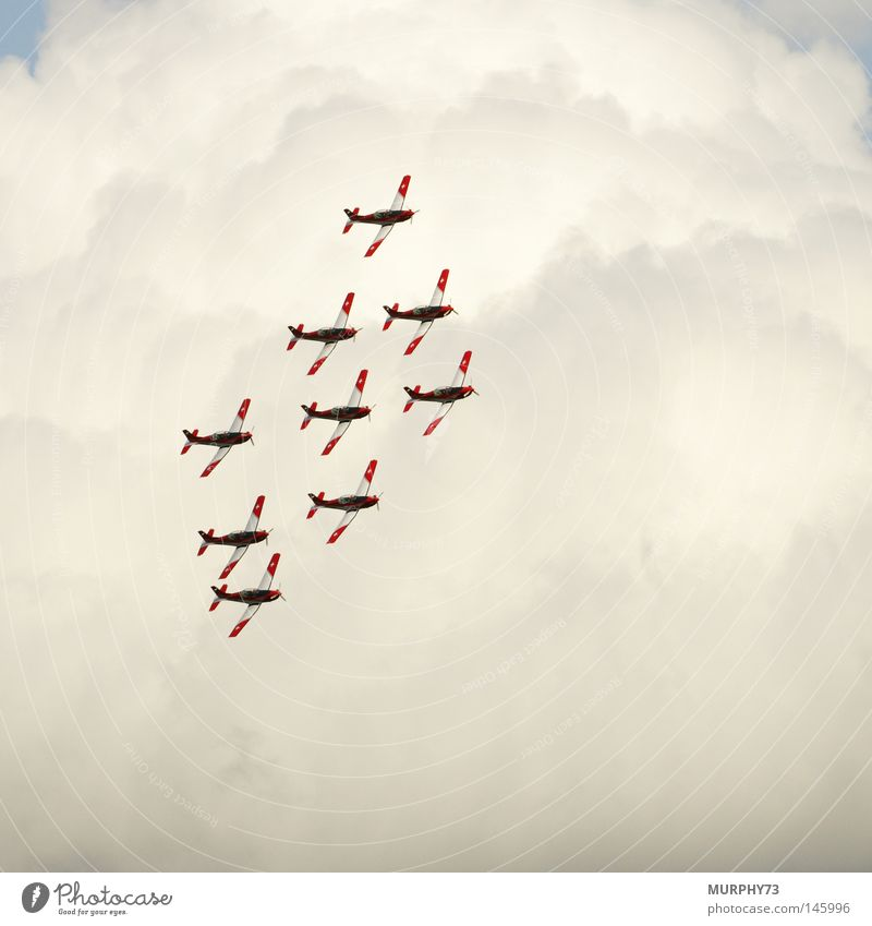 Diamant (Formation) über den Wolken Flugzeug Propellerflugzeug Staffelung Schweiz Kunstflug Formationsflug fliegen Himmel Nebel Flugschau Show Artist Pilot