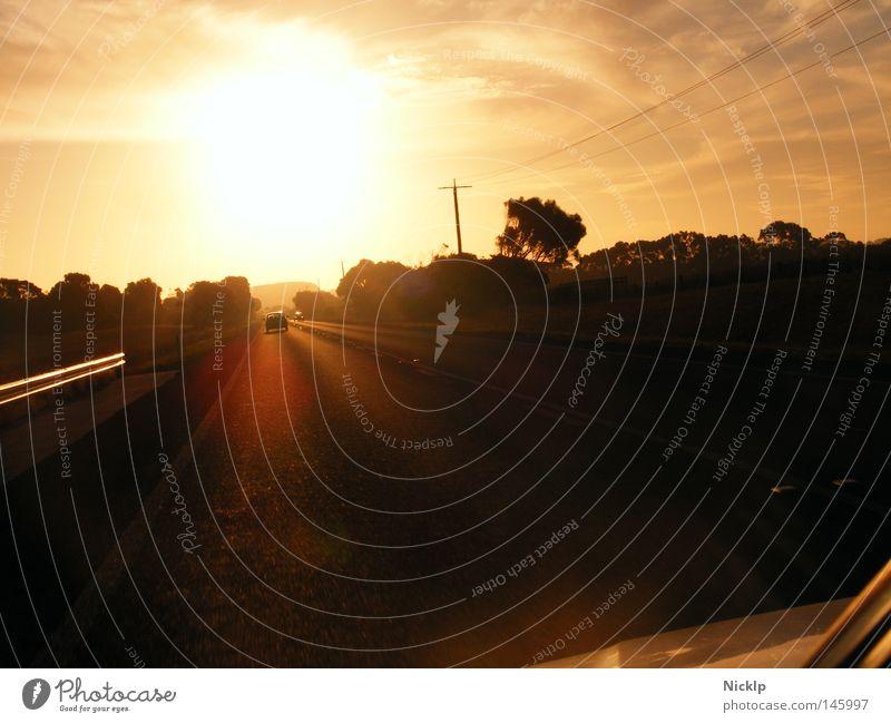 Auf zum Fluchtpunkt, in den Sonnenuntergang hinein Himmel Sonne Baum Wolken Freude Ferne Straße Bewegung Freiheit PKW Sträucher frei Ausflug Stern Romantik fahren
