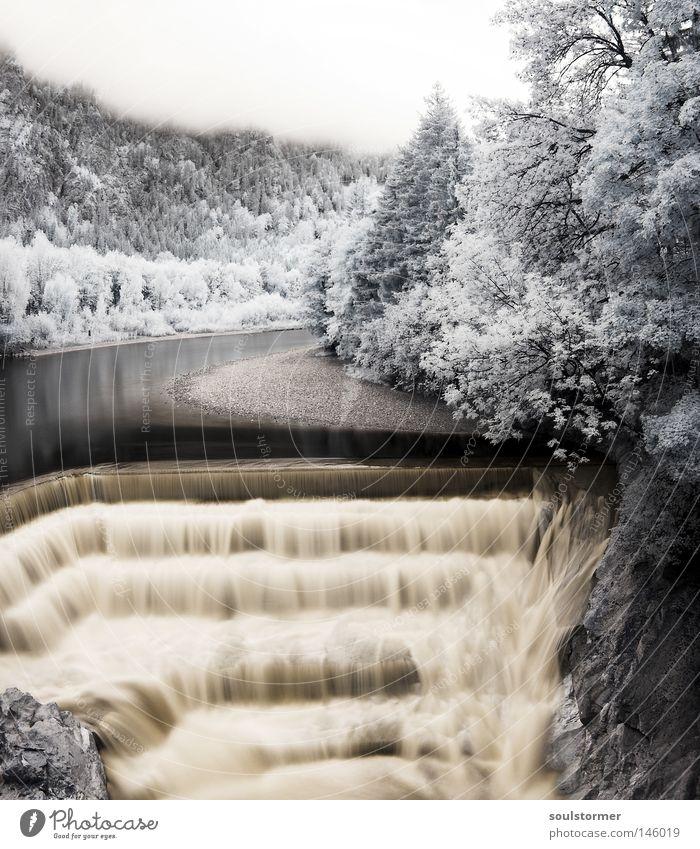 Wasserfällchen - Nur für Zett ;) Infrarotaufnahme Wasserfall Fluss See Baum Himmel Nebel Wolken Märchen Märchenwald Geschwindigkeit Leben Schwarzweißfoto