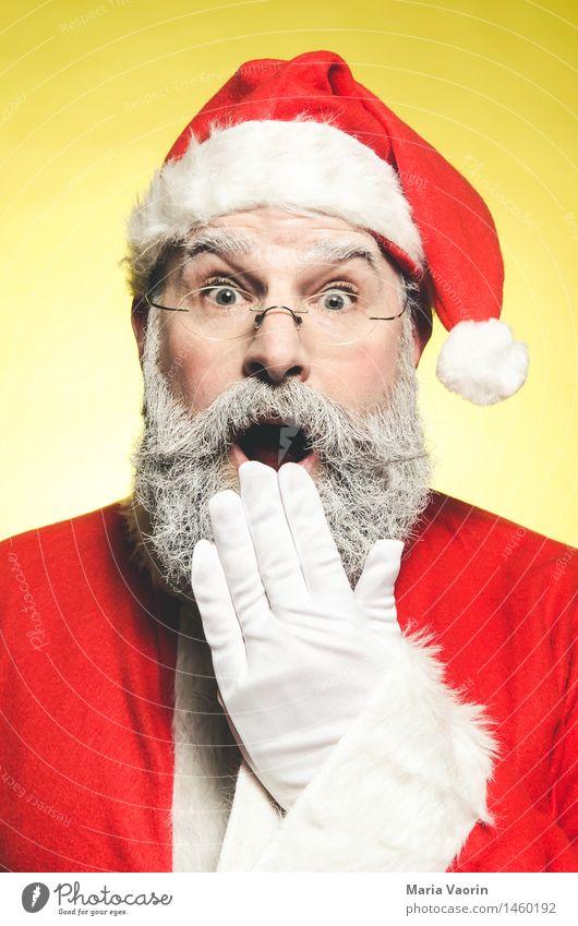 Ho Ho Ho Mensch Mann Weihnachten & Advent rot Erwachsene gelb Feste & Feiern maskulin 45-60 Jahre Brille Männlicher Senior Überraschung Mütze Bart Handel