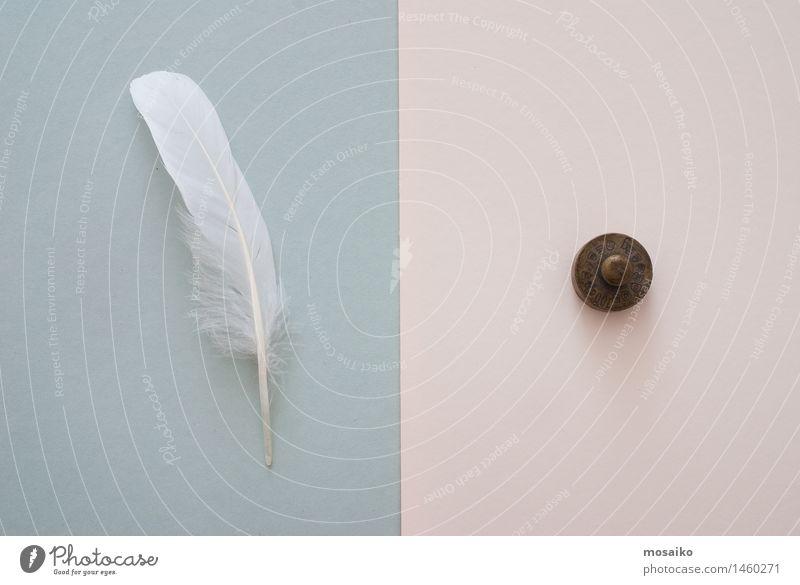weiße Feder und Gewicht dunkel grau Zufriedenheit Fliege Papier Symbole & Metaphern Gleichgewicht Surrealismus Seite Verschiedenheit Symmetrie links rechts