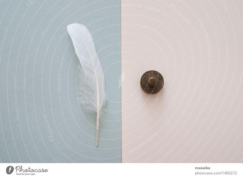 weiße Feder und Gewicht Lifestyle harmonisch Papier einfach Ferne Zusammensein Sauberkeit blau grau Ungerechtigkeit Licht Schwerelosigkeit Kontrast schwer
