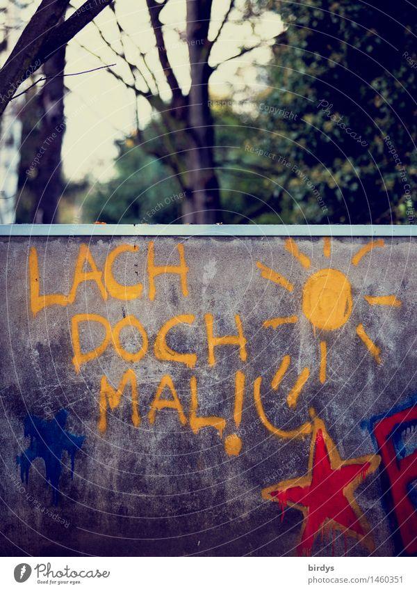 grmpfhahahaahiiischnrrrhahaaahohoooo... Jugendkultur Graffiti Baum Park Mauer Wand Zeichen Schriftzeichen Sonne lachen leuchten authentisch Freundlichkeit