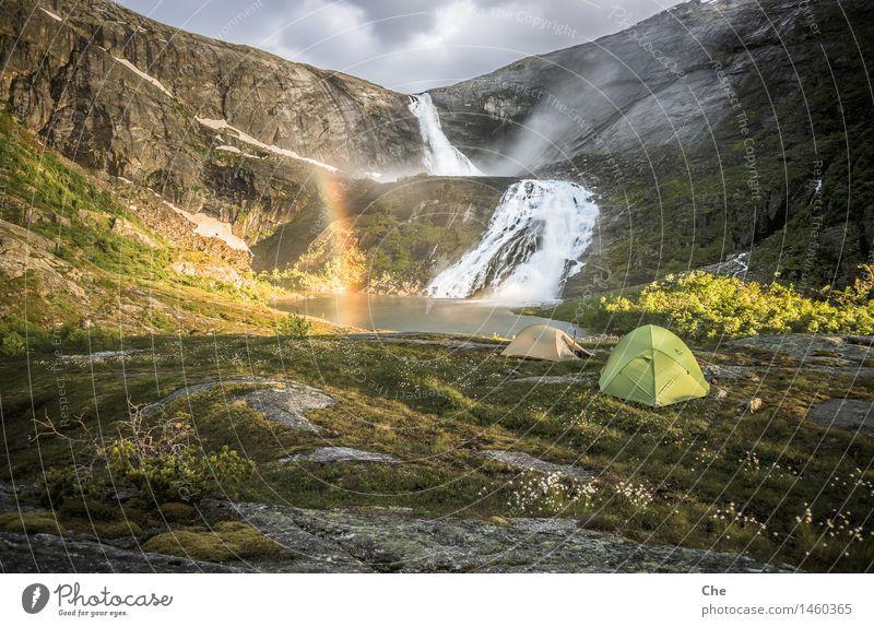 Kategorie 1a Natur Sonne Einsamkeit ruhig Glück wandern groß Geschenk Abenteuer Pause Frieden harmonisch Abenddämmerung Camping Wasserfall Regenbogen