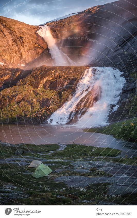 übertrieben schön Angeln Abenteuer Freiheit Expedition Camping Berge u. Gebirge wandern Landschaft Urelemente Gletscher Flussufer Fjord See Wasserfall Macht Mut
