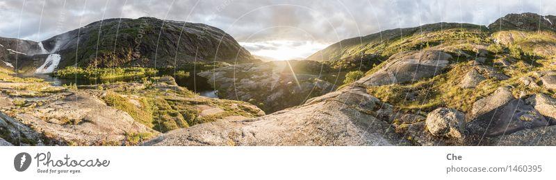 Mittsommerpanorama Landschaft Schönes Wetter Gletscher Fluss Wasserfall Stimmung Glück Begeisterung Tapferkeit selbstbewußt Kraft Geborgenheit Reinlichkeit