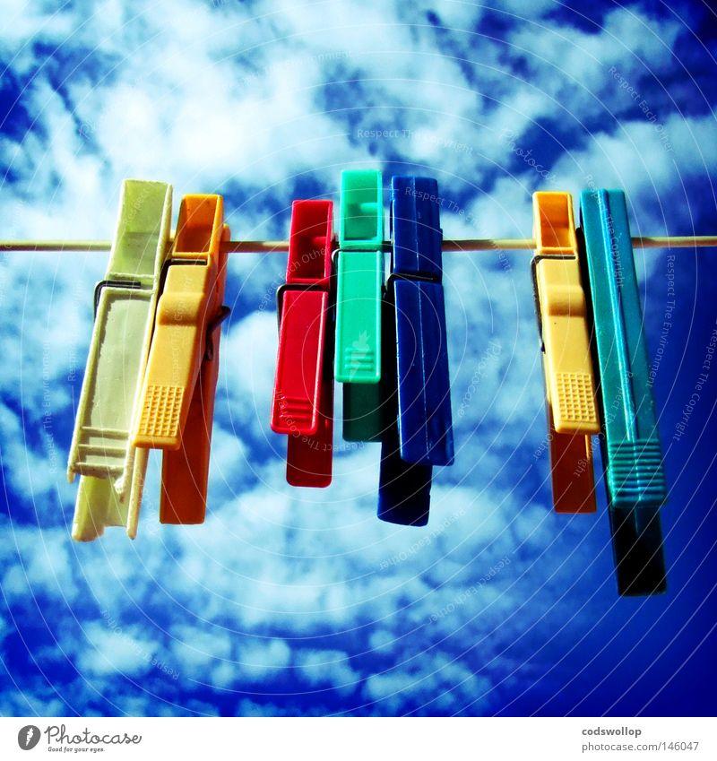 a good day to dry Sommer Wolken Garten Wärme Zusammensein Netzwerk mehrfarbig Physik Handwerk Hinterhof trocknen Haushalt 7 Nachbar aufhängen Wäscheklammern