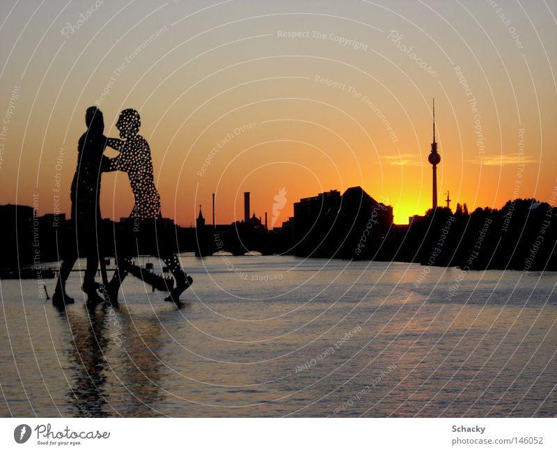 Heimat Wasser Sommer Berlin Kunst groß Romantik Berliner Fernsehturm Fernsehturm Sehenswürdigkeit Sonnenuntergang molekular Molekül