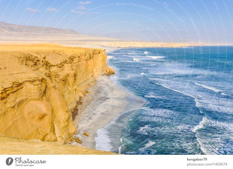 Paracas National Reserve an der Pazifikküste von Peru Natur Ferien & Urlaub & Reisen Meer Landschaft Strand gelb natürlich Küste Sand Felsen Park Tourismus