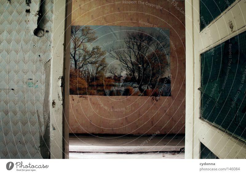 Naturverliebt alt Einsamkeit Haus Leben Wand Landschaft Gefühle Gebäude Zeit kaputt Häusliches Leben retro Spuren Sehnsucht verfallen