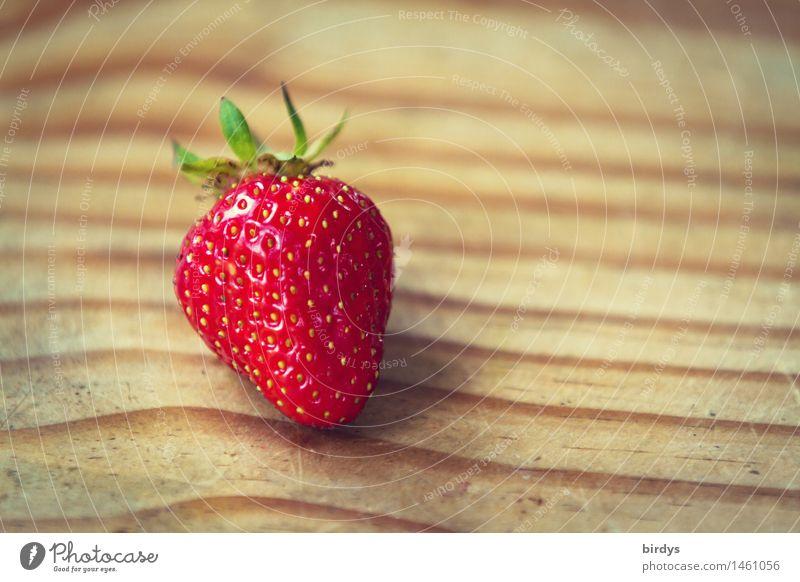 Das Beste am Norden sind unsere... Frucht Erdbeeren Holztisch Linie Duft liegen ästhetisch frisch lecker positiv saftig süß gelb grün rot schön Lebensfreude