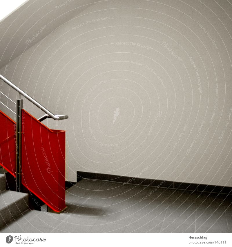 Perspektive X rot Treppe verloren Wege & Pfade Ziel grau weiß Treppenhaus Reihe Freude Perpektiven