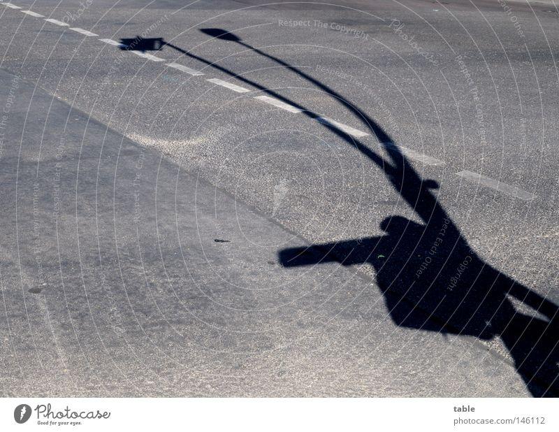SIE KOMMEN . . . Schatten Straße Laterne Ampel Straßennamenschild Straßenkreuzung Verkehr Sicherheit wahrnehmen Phantasie Monster Science Fiction Verkehrswege