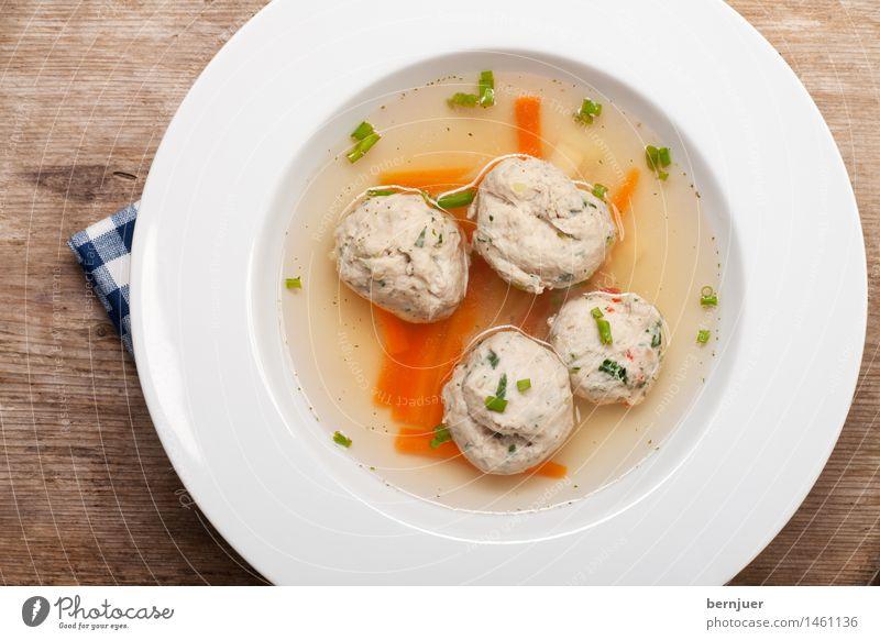 Bratnockerlsuppe blau weiß Wärme Lebensmittel frisch lecker heiß Teller Schalen & Schüsseln Fett Möhre Würzig Suppe Petersilie Brühe Schnittlauch