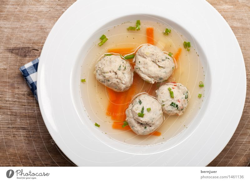 Bratnockerlsuppe Lebensmittel Suppe Eintopf Teller Schalen & Schüsseln Wärme frisch heiß lecker blau weiß bayerisch Knödel Nockerl Essen Schweinefleisch