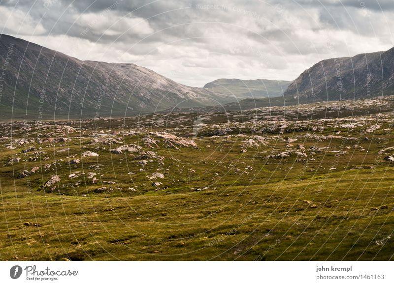 Hauptsächlich Gegend Natur Landschaft Gras Wiese Hügel Felsen Berge u. Gebirge Highlands Highlander Schottland groß Unendlichkeit Willensstärke Tatkraft