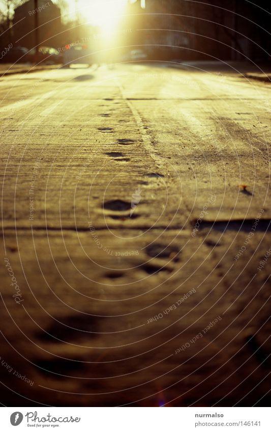 Montag Morgen Gold Ferien & Urlaub & Reisen Sonne Straße Gefühle Wege & Pfade Fuß Reisefotografie gold Beton Boden Baustelle Ziel Spuren unten entdecken