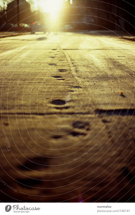 Montag Morgen Gold Ferien & Urlaub & Reisen Sonne Straße Gefühle Wege & Pfade Fuß Reisefotografie gold Gold Beton Boden Baustelle Ziel Spuren unten entdecken