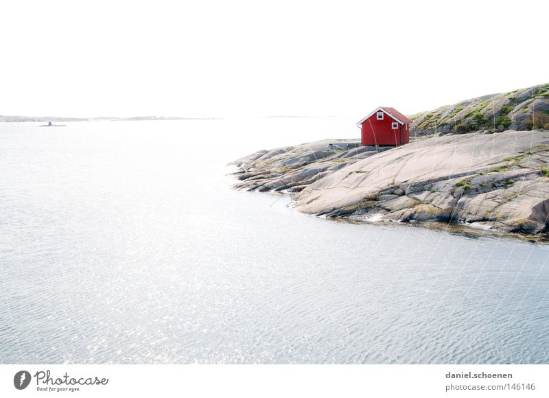 Schweden 2 Wasser Himmel Sonne Meer blau rot Sommer Strand Ferien & Urlaub & Reisen ruhig Haus Ferne Farbe Erholung Holz See