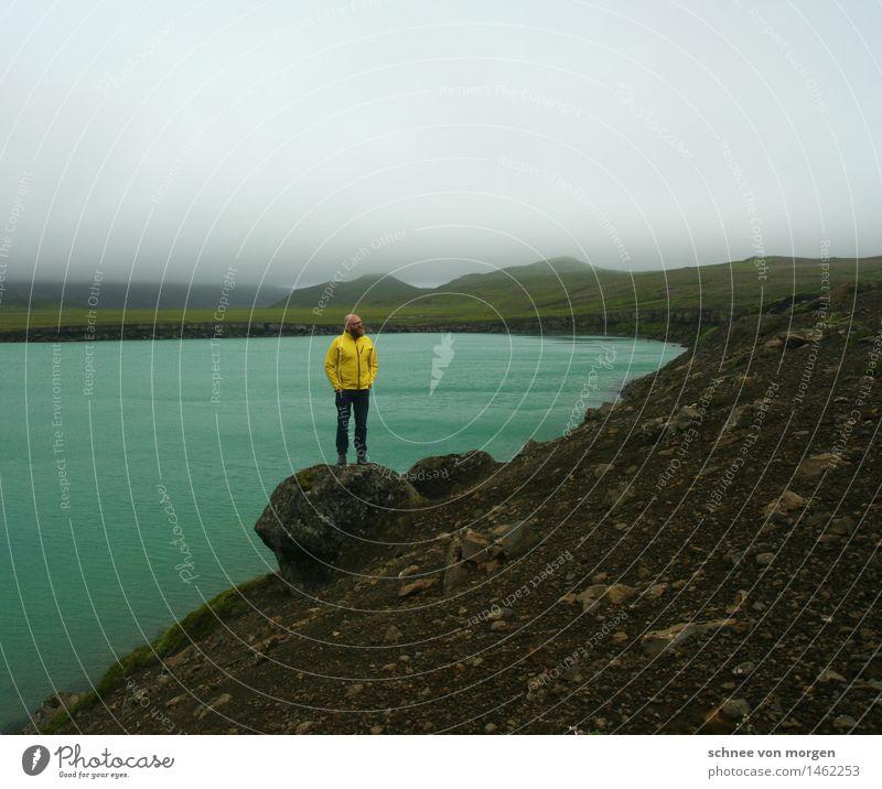 markierend maskulin Mann Erwachsene Körper 1 Mensch 30-45 Jahre Umwelt Natur Landschaft Pflanze Tier Urelemente Wasser Himmel Wolken Horizont Herbst