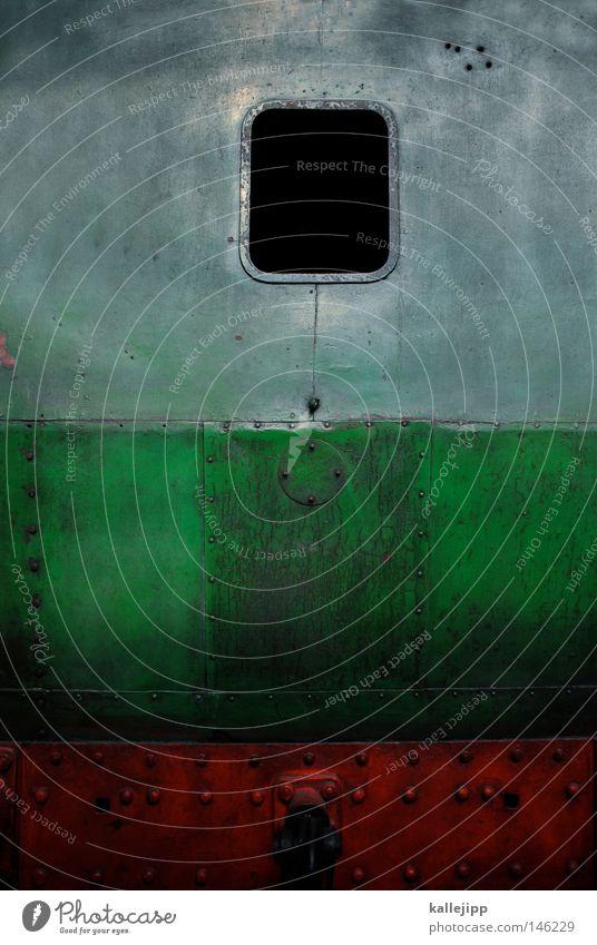 jim knopf grün rot Fenster grau Eisenbahn Geschwindigkeit Industrie retro Technik & Technologie Güterverkehr & Logistik Industriefotografie Rauch