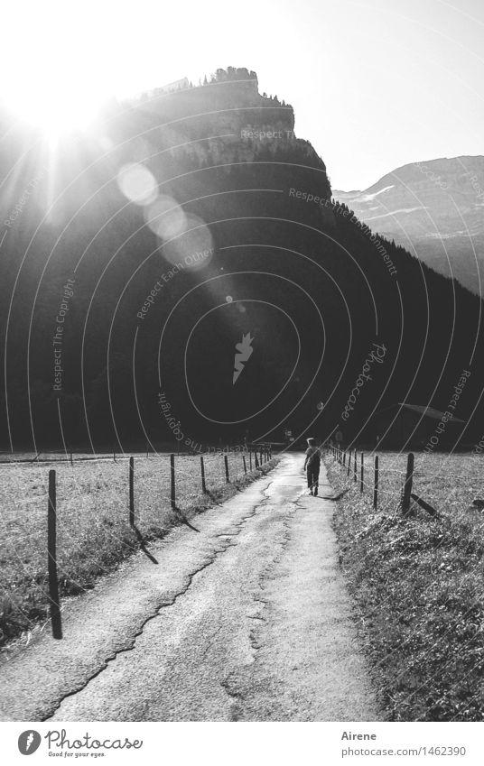 ich lass mich nicht aufhalten Ferien & Urlaub & Reisen Ausflug Freiheit Berge u. Gebirge wandern Mensch feminin Erwachsene 1 Landschaft Schönes Wetter Alpen