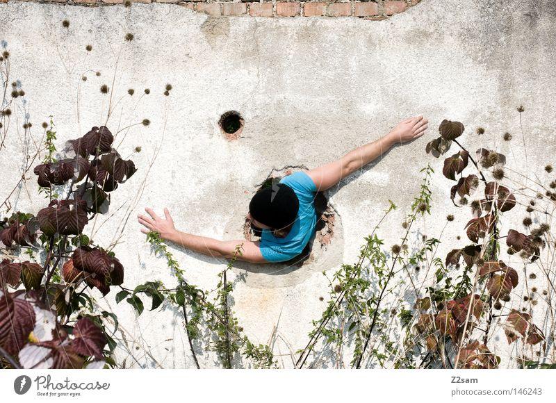 ROTOR drehen Mann Wand Pflanze lässig Mütze Bewegung Mensch blau trashig Arme Biegung Drehung rotieren Loch skurril Mauer ausbrechend Durchbruch Versteck
