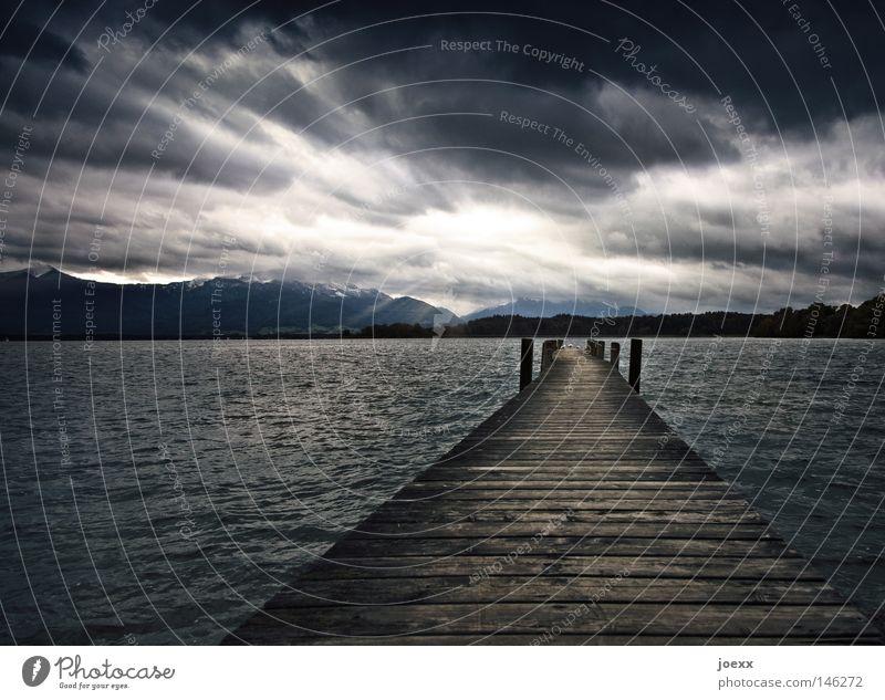 Ende und Hoffnung Himmel Natur Wasser Meer Landschaft Einsamkeit Wolken dunkel Berge u. Gebirge kalt Wiese Wege & Pfade Tod See Vogel oben