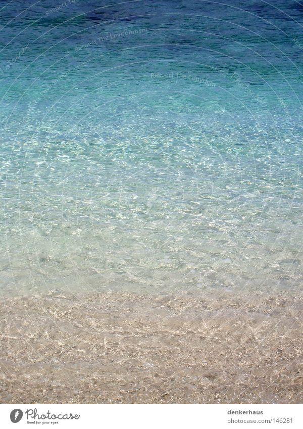 Blick ins Wasser Ferien & Urlaub & Reisen blau schön grün Farbe weiß Wasser Meer Erholung gelb Küste Sand Wellen nass türkis Sandstrand