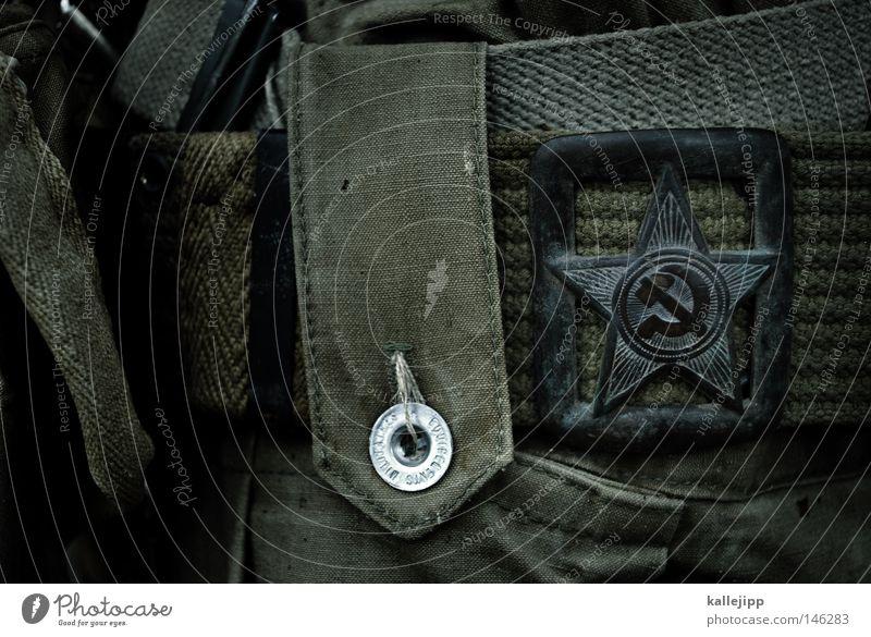 krieg und frieden Gürtelschnalle Detailaufnahme Bildausschnitt Hammer Sichel KPD Sowjetunion Russland historisch Vergangenheit Macht Weltmacht Kalter Krieg