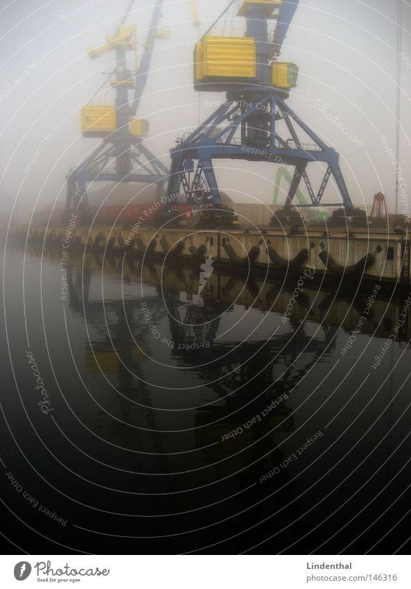 Hafenkran bei Nebel Schifffahrt Wismar Hamburg umschlaghagen Container Wallach Wasser Wanze Verkehr Ware Griff
