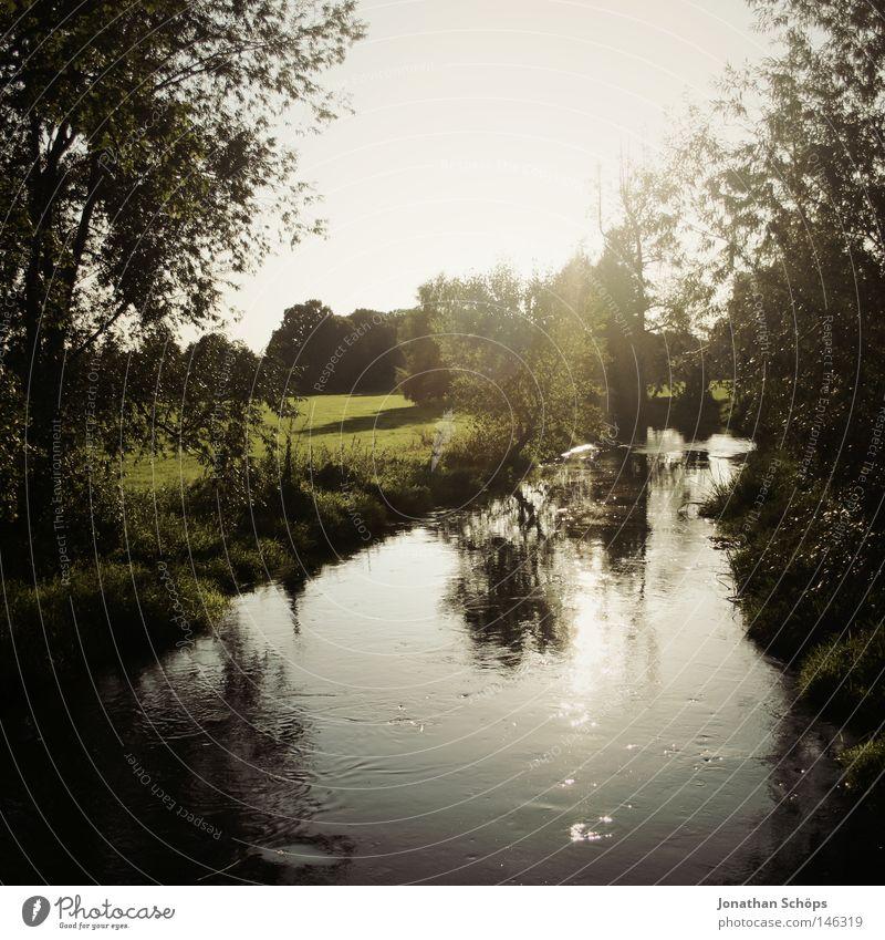 da fließet es dahinne dat flüsselein! Freude schön Leben Erholung ruhig Freizeit & Hobby Sommer Sonne Natur Wasser Wassertropfen Gras Wiese Flussufer Teich See